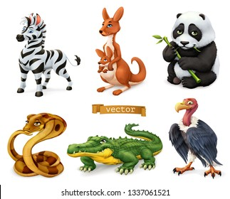 Funny animals. Zebra, kangaroo, panda bear, cobra snake, crocodile, vulture. 3d vector icon set