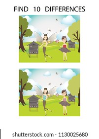 Funny apiary vector cartoon image. Find 10 differences. Educational game for children. Honey cartoon vector illustration. Logic game for children and adults.  Developing skills for counting.