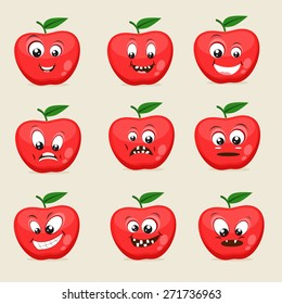Funny apple character showing different facial expressions on beige background.