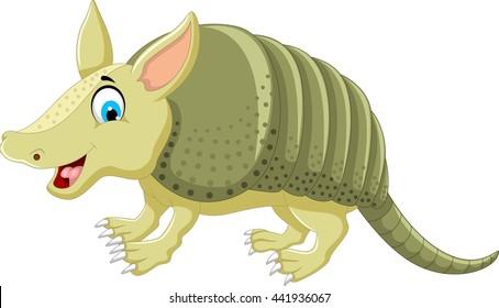 funny armadillo cartoon posing