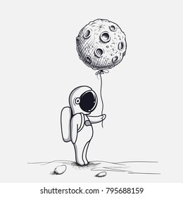 Funny astronaut keeps abstract balloon like a moon.Hand drawn.Space childish vector illustration