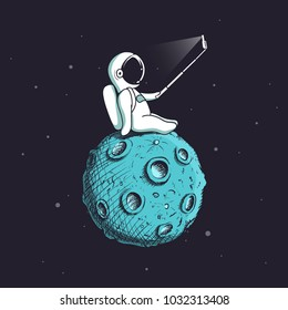 Funny astronaut make selfie on Moon.Spaceman photographs himself.Childish vector illustration.Prints design