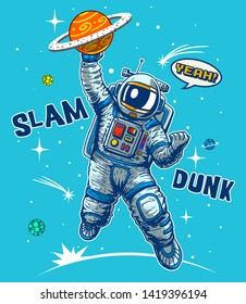 funny astronaut playing basketball space 260nw 1419396194