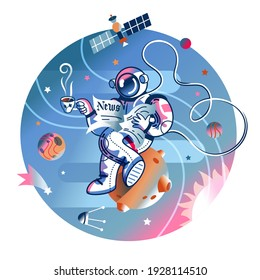 Funny astronaut reading newspaper with cup of coffee in space. Man flying with open paper in spacesuit. Space exploration fun entertainment vector illustration. Cosmonaut in universe.