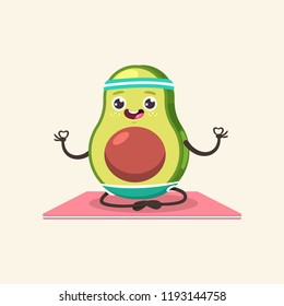 Funny Avocado kid in yoga pose. Cute vector cartoon fruit character isolated on a background. Eating healthy and fitness.