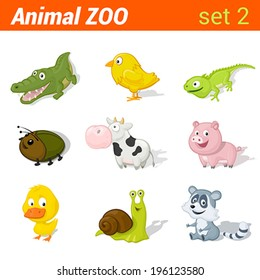 Funny baby animals icon set. Children language learning elements. Alligator, chicken, lizzard, beetle, cow, pig, duck, snail, racoon.  Animal Zoo collection.