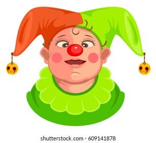 Funny baby clown head. Isolated on white vector cartoon illustration