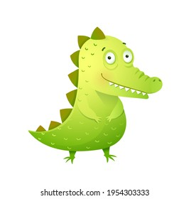 Funny baby crocodile with cute face. Kids and childhood croc or alligator mascot for boys and girls, baby animal cute nursery art. Vector design in watercolor style.