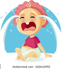 Funny Baby Crying Vector Cartoon Illustration. Cute newborn toddler yelling for being wet or hungry