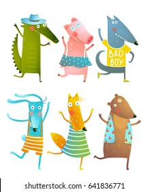 Funny Baby Dancing Animals Collection. Cartoon for children dancing or playing game animals cub in dress, shirts, clothes. Dog, pig, alligator, rabbit, fox, bear friends. Vector cartoon illustration.