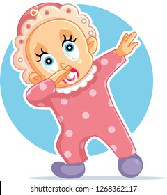 Funny Baby Girl Dabbing Vector Cartoon. Cute little child dancing taking first steps