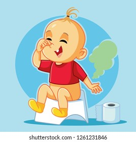 Funny Baby Sitting on the Potty Vector Cartoon. Pot training little kid laughing and covering his nose