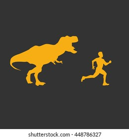 Funny background dinosaur T-rex running after man