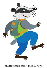Funny badger walking or sneaks with backpack