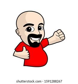 funny bald cartoon people vector