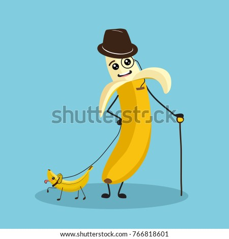 Funny Banana Character Eyes Legs Cane Stock Vektorgrafik Lizenzfrei