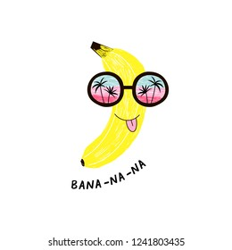 funny banana fruit character in sunglasses with seaside horizon reflexion, pencil drawing style illustration for kid poster and summer t-shirt design, isolated on white