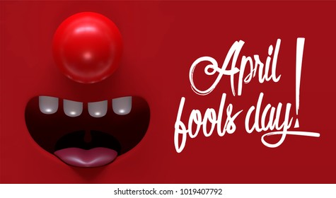 April fool's day. Funny banner or card design with place for your text. Vector illustration.