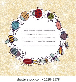 Funny banner with bugs and place for text . Also you can use background ornament as seamless pattern.