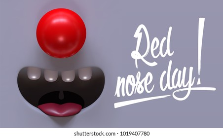 Funny banner for Red Nose Day holiday with place for your text.