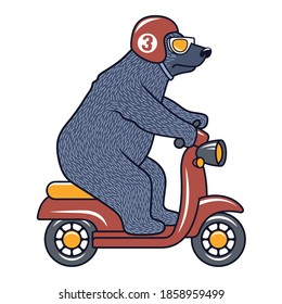 Funny Bear with sunglasses, helmet and scooter for child t-shirt design. Vector illustration