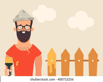 Funny Bearded Character Holding Brush and Painting the Fence. Vector Illustration