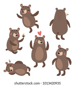 Funny bears vector set