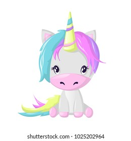 Funny beautiful fictional cartoon character, colorful unicorn. Fantasy fairy animal. Unicorn with a multi-colored horn, tail and mane. Vector illustration isolated.