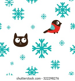 Funny beautiful seamless cat pattern with bird and snowflakes. Vector illustration
