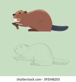 Funny beaver illustration,  Set of beavers.