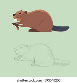 Funny beaver illustration,  Set of beavers.