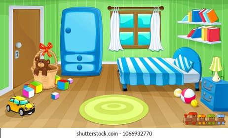 Funny bedroom with toys. Vector cartoon illustration