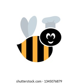 Funny bee chef character. Logo icon design.