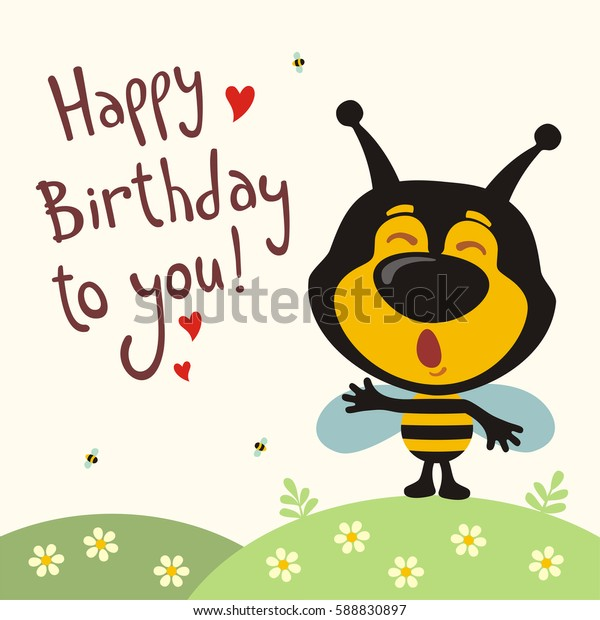 Funny bee sings song Happy birthday to you! Greeting card.