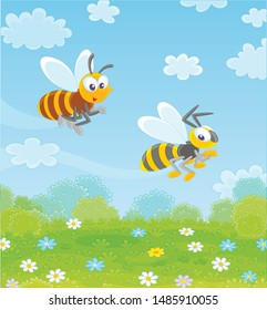 Funny bee and wasp flying over a green field with wildflowers on a pretty summer day, vector illustration in a cartoon style
