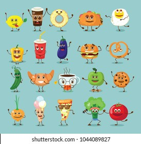 Funny best friends food characters with emotions, includes fast food and fruits, vegetables vector illustrations.