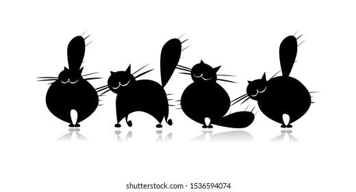 Funny big cat family, black silhouette. Vector illustration