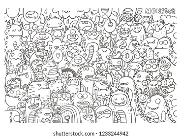 Funny big coloring poster in doodle style. Big coloring page with monster