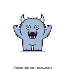 Funny Big Hairy Monster Vector Illustration