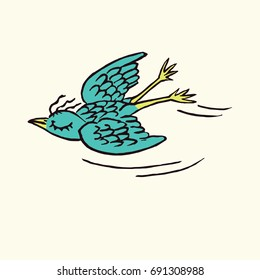 Funny bird enjoying flying with closed eyes, hand drawn doodle, sketch in pop art style, color vector illustration