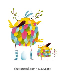 Funny bird family mother and nestling egg kid. Funny bird family mother and nestling. Bird parent funny love child greeting card design. Vector illustration.