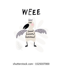 Funny bird and text - Weee isolated on a white background. Vector illustration for the children.