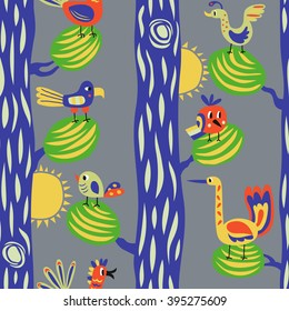 Funny birds in the forest. Seamless vector pattern with cartoon birds in the trees