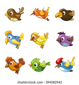 Funny birds icons. Cartoon cute vector birds for logo or game emblem about birds