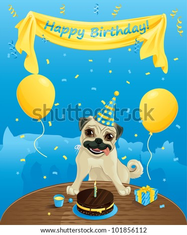 Funny Birthday Card Dogs Having Fun Stock Vector Royalty Free