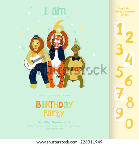 funny birthday party invitation layout animals stock vector royalty