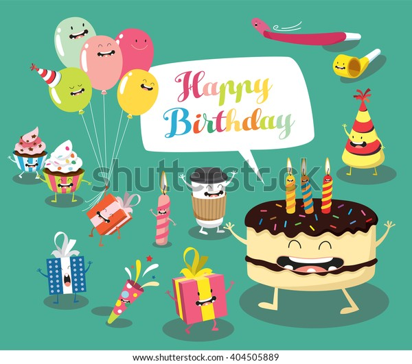 Amazing Funny Birthday Set Birthday Cake Balloons Stock Vector Royalty Funny Birthday Cards Online Inifofree Goldxyz