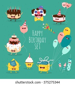 Funny birthday set. Birthday cake, invitation, clown, balloons, gifts, candles. Vector illustrations. You can use in the menu, in the shop, in the bar, the card or stickers.