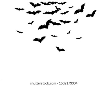 Funny black bats group isolated on white vector Halloween background. Flying fox night creatures illustration. Silhouettes of flying bats vampire Halloween symbols on white.