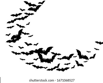Funny black bats swarm isolated on white vector Halloween background. Flying fox night creatures illustration. Silhouettes of flying bats vampire Halloween symbols on white.
